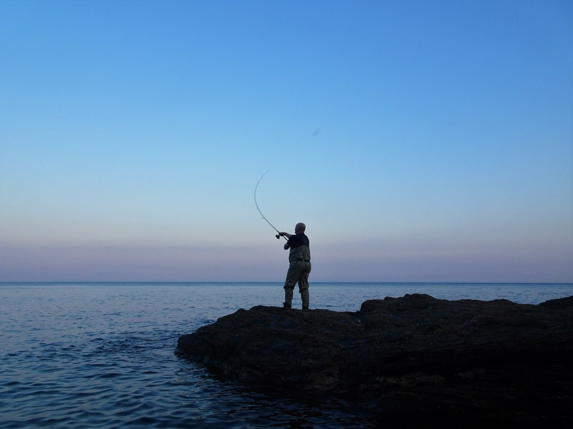 Bass fishing at dusk in Devon