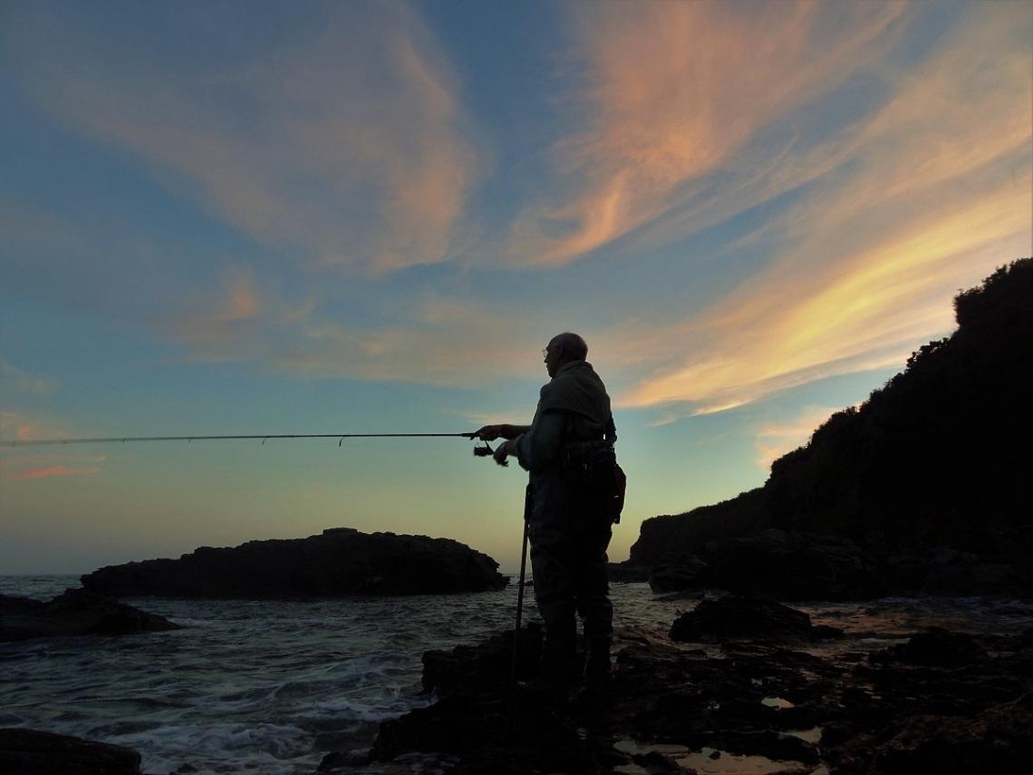 Bass fishing at dusk