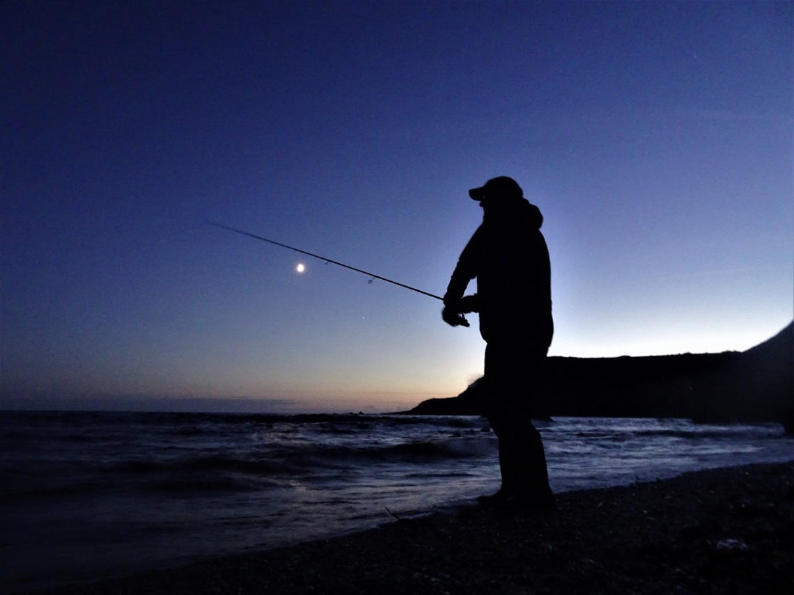 bass fishing in darkness