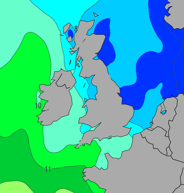 current UK sea temperature